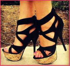Cute  black high heels sandals