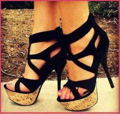 Cute  black high heels sandals