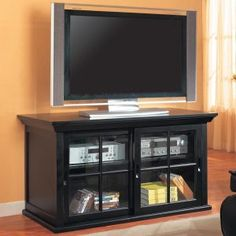 Tv Media Stand With Sliding Glass Doors