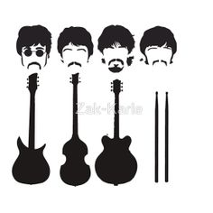 The Beatles and their instruments. by Zak-Karle The Beatles 1, Beatles Party, Led Zeppelin Tattoo, Beatles Tattoos, The Quarrymen, Rock Poster, Grafiti, Rock And Roll Bands, Stencil Art