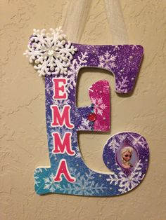 Personalized Hanging Letter-Frozen inspired! Custom Nursery Letter/Hanging Letter/Girls Name/Childrens Room Decor/Decorated Wooden Letter by MeeMeesMasterpieces on Etsy