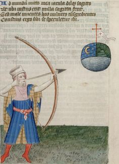 San Marino, Huntington Library, HM 150, f. 13v ('Gower shooting an arrow at the world'). John Gower. Vox Clamantis. 1400-1415.