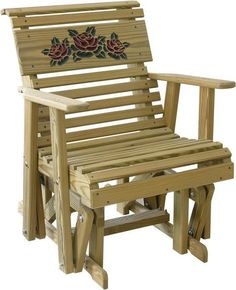 LuxCraft Rollback Rose Glider Chair by Dutchcrafters Amish Furniture Outdoor Glider Chair, Porch Glider, Swivel Glider Chair, Amish Furniture, Wood Furniture, Outdoor Furniture, Outdoor Seating, Outdoor Chairs, Pine Chairs