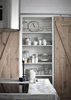 open kitchen shelves and barn doors