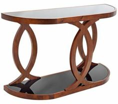 Peace Smoked Glass and Wood Console Table | 55DowningStreet.com