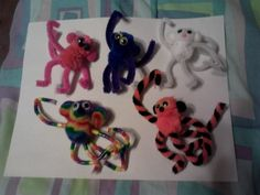 pink, blue, white, rainbow, and tiger monkey