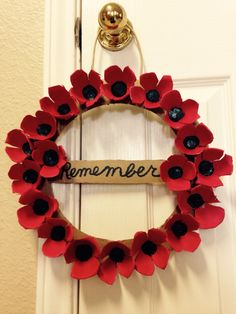 Our Veterans Day Remembrance Wreath-we cut the poppies from egg cartons and then. - Our Veterans Day Remembrance Wreath-we cut the poppies from egg cartons and then painted them. Easy Crafts For Kids, Art For Kids, Remembrance Day Art, Poppy Wreath, Poppy Craft, Egg Carton Crafts, Anzac Day, Wreath Crafts, Veterans Day