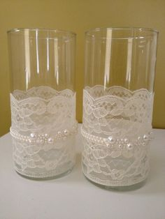 Lace and Pearl Centerpieces   Lace and Pearl Wrapped Votive Holders (Victorian, Shabby Chic Feel ...
