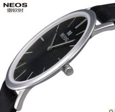 "100% Brand New!!  ""NEO""  Fashion Ultra thin Mens Watch,  Waterproof  Quartz Watch, leather strap watches, Free Shipping-inWristwatches from ..."
