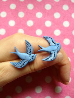 Upcycled Blue Swallow Button Earrings. $6.40, via Etsy.