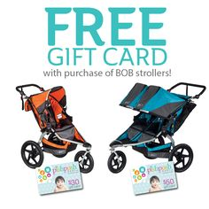 Get a free PishPosh Baby gift card when you purchase a BOB stroller - $30 for a single stroller, $50 for Duallie! Offer good through Friday 3/20/15! http://pishposhbaby.com/