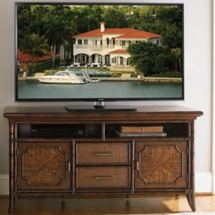 "Bal Harbor Crystal Bay 60"" TV Console in Sienna Rosewood @ http://www.dynamichomedecor.com/Sligh-293SA-660.html   Matching items, including game table, available in this collection."