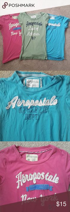 Aeropostale tee shirt trio with logos Three aeropostale tee shirts of varying colors. All have lettering. Colors and sizes are pink (M), blue (M), olive green (S). All great condition! Aeropostale Tops Tees - Short Sleeve