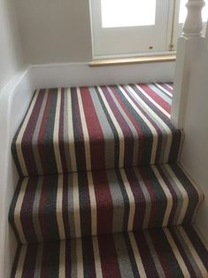 Snazzy Striped Stair Carpet – Roseann H. Popp Home Striped Carpet Stairs, Striped Carpets, Stair Carpet, Hallway Carpet, Carpet Installation, Carpet Flooring, Ottoman, New Homes, Chair