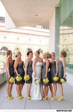 Betsy + Ben http://marywyar.com  toledo wedding photographer  modern yellow wedding  yellow flowers  gray & yellow