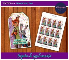 Imprimible Etiquetas de agradecimiento - Thank you tags - Zootopia - Zoomania - Zootrópolis - Celebrando fiestas
