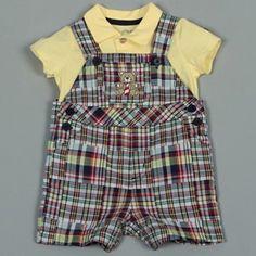 Little Me Infant Plaid Overalls Shorts Set