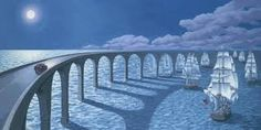 Canadian artist Robert Gonsalves explores childlike stories of wonder through his surrealist paintings, capturing peeks of one's internal daydreams through dual scene optical illusions. The works express both the real and the imaginative, painting Optical Illusion Paintings, Art Optical, Optical Illusions, Illusion Kunst, Illusion Art, Canadian Painters, Canadian Artists, Robert Gonsalves, Rene Magritte