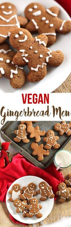 – Emilie Eats These adorable Vegan Gingerbread Cookies have that classic gingerbread spice and hint of sweetness, but they're whole wheat and made with real ingredients! Vegan Treats, Vegan Foods, Vegan Gingerbread Cookies, Gingerbread Houses, Vegan Christmas Cookies, Gingerbread Cake, Patisserie Vegan, Vegan Dessert Recipes, Cookie Recipes