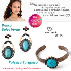 Frete Grátis acima de R$: 99,00 e Parcele em até 6x sem juros!  #Brinco #Delos #Verde #Bitri #Bijoux #Natura -  por R$ 246,00 - #Brinco em metal com #banho #grafite e #ouro, #pedra #turquesa e #strass #coloridos. Compre Aqui > http://goo.gl/veZlTT   #Pulseira #Turquesa #Bitri #Bijoux #Natura - por R$ 158,00 - #pulseira em #metal com #banho #ouro #velho e #pedra #turquesa #natural. Compre Aqui > http://goo.gl/9qr9zn  Acesse a loja e veja outros produtos > http://goo.gl/RYTDAG