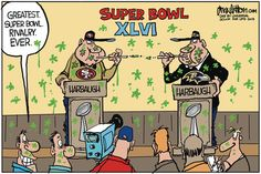 Greatest super bowl rivalry ever. Drew Litton on GoComics.com #humor #brothers #SuperBowl #Football #Sports
