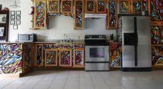 Graffiti kitchen cabinets