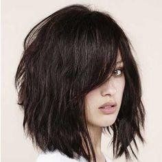 Thick-Textured-Bob-with-Bangs.jpg 500×500 pixels #BangsHairstylesMedium #HairstylesForWomenWithBangs