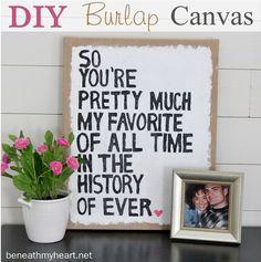 DIY Burlap Canvas Art {Pinterest Party with ME at Michaels!}