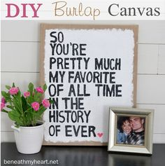 diy burlap stretched canvas art