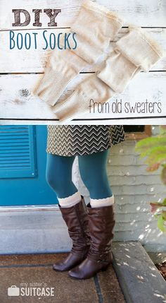 Turn old sweaters into cute boot socks