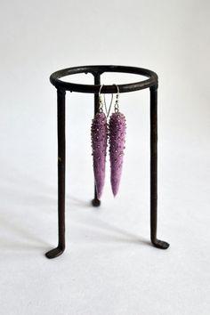Long Lavender Earrings  Felt Earrings  Long Felt by lyralyra, $18.00