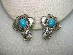 "Vintage Silver Tone Barrera for Avon Faux Turquoise Clip Earrings,  1.75"" #AvonBarrera #clip"