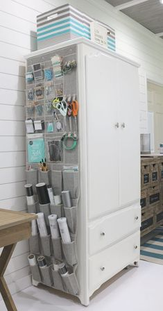 Over the door storage for crafts and more.Create the perfect home office in a small space with plenty of storage. Better Homes & Gardens at Walmart storage ideas and more ideas for small space Affordable Ideas to Create the Perfect Small Home Office Sewing Room Organization, Craft Room Storage, Home Office Organization, Door Storage, Storage Spaces, Organization Ideas, Small Office Storage, Office Decor, Hidden Storage