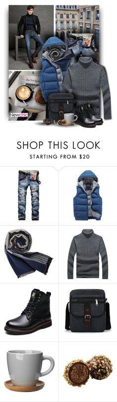 """""""Denim Jeans for Him - Newchic"""" by christiana40 ❤ liked on Polyvore featuring Massimo Dutti, Höganäs Ceramic, men's fashion and menswear"""