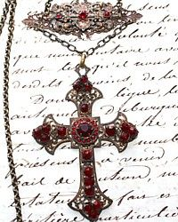Vintage One of a Kind Ruby Loves Cross Necklace-red, paste,victorian