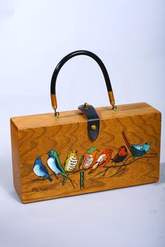 Vintage 60s Enid Collins Birds Painted Wooden Box Purse.