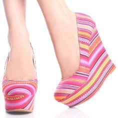 Pink Canvas Multicolor Tribal Womens High Heel Platform Wedge Shoes 6.5 Sz on eBay!