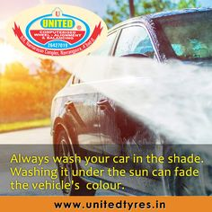 Washing your car in the sun will dry the water and soap on the surface and can create water spots which are difficult to remove. #CarWash #Ahmedabad