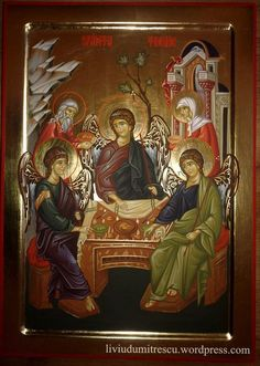 Holy Trinity & The hospitality of Abraham Religious Icons, Religious Art, Saint Esprit, Russian Icons, Byzantine Icons, Catholic Art, Art Icon, Sgraffito, Traditional Paintings
