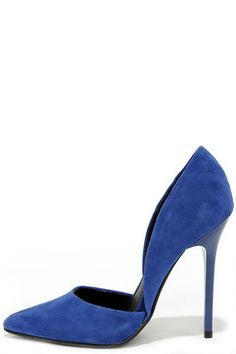 "If you thought low-cut was for necklines, think again! The Steve Madden Varcityy Blue Suede Leather D'Orsay Pumps have a fabulous blue suede upper that dips into sizzling d'Orsay cutouts on both sides. Pointed toe. 4.5"" shiny synthetic heel (including tip). Padded insole. Rubber sole has nonskid markings. Available in whole and half sizes. Measurements are for a size 6. Leather upper. Balance man made materials. Imported."