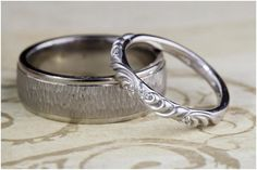 Simple, yet textured wedding bands. So pretty!  Bowen Jewelry Company | Michelline Hall | as seen on Hill City Bride