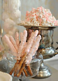 pink dipped pretzels and pink popcorn