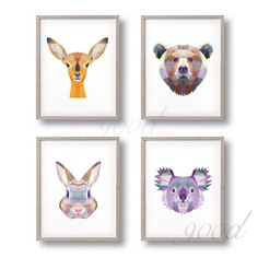 Triangle Animal Set Canvas Art Print Painting Poster, Wall Pictures for Home Decoration, Home Decor Home Pictures, Wall Pictures, Poster Wall, Picture Wall, Decoration, Canvas Art Prints, Paper Flowers, Creations, Gallery Wall