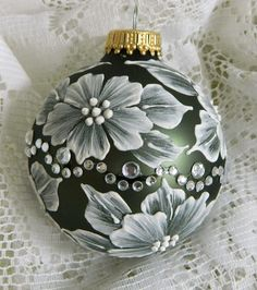 Soft Green MUD Ornament with Flowers and Motif Bling. $20.00, via Etsy.