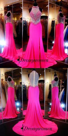 2016 Elegant Long Prom Dresses - Fuchsia Sheath High Neck with Rhinestone