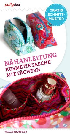 Kostenloses Schnittmuster: Kosmetiktasche Free sewing pattern for sewing a cosmetic bag. The cosmetic bag can be equipped with compartments for Sewing Patterns Free, Free Sewing, Free Pattern, Poncho Crochet, Laminated Cotton Fabric, Diy Mode, Sewing Projects, Sewing Tutorials, Diy Couture