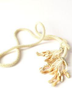 Long Champagne Bead Crochet  Necklace With by Shell Pendants EdoraJewels
