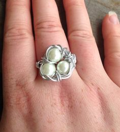 Silver Wire Wrapped Birds Nest Ring with Pearl by SoSheDidShop