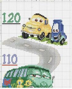 Cross Stitch Baby, Cross Stitch Alphabet, Cross Stitch Charts, Disney Cross Stitch Patterns, Cross Stitch Designs, Disney Cars, Martin Cars, Brother Innovis, Bordado Tipo Chicken Scratch