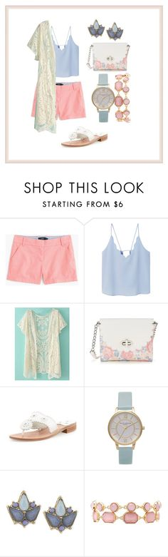 """""""Girly Day"""" by belladlr on Polyvore featuring J.Crew, MANGO, Candie's, Jack Rogers, Topshop, Carolee and Charlotte Russe"""
